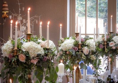 Cockliffe house wedding flowers, candelabra hire,recommended supplier