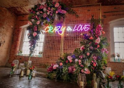 west mill wedding  backdrop hire, neon sign hire