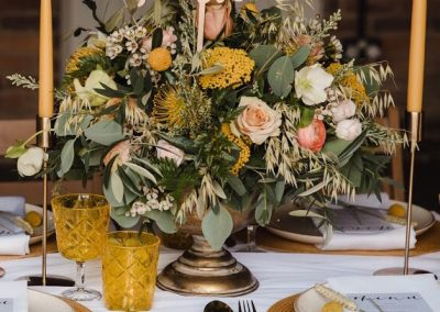 gold table decorations, wedding prop hire derbyshire